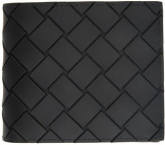 Bottega Veneta Black Rubber Intrecciato Bifold Wallet