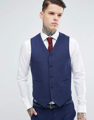 Asos Design Wedding Skinny Suit Waistcoat in Navy Wool Mix