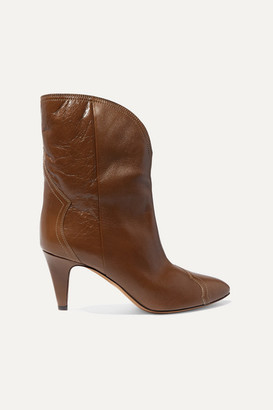 Isabel Marant Dythey Leather Ankle Boots - Taupe