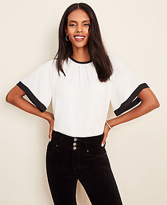 Ann Taylor Tipped Tie Back Top