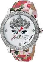 Betsey Johnson Women's BJ00131-79 Cat Face Motif Dial and Rose Printed Strap Watch