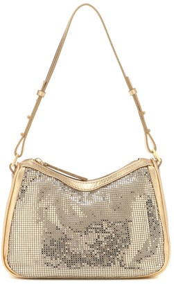BY FAR Sydney leather and mesh shoulder bag