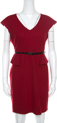 Carolina Herrera Red Wool Half Peplum V-Neck Dress L