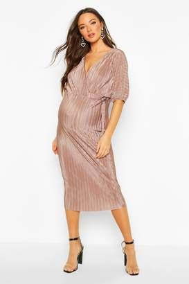 boohoo Maternity Plisse Buckle Detail Midi Dress