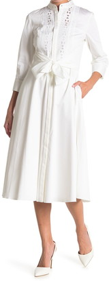 Elie Tahari Ann Waist Tie Woven Fit & Flare Dress