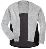 Aqua Girls' Chiffon Trimmed Heather Cardigan - Sizes S-XL