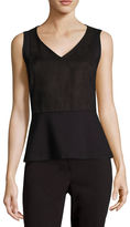 Liz Claiborne Sleeveless Faux-Suede Peplum Top