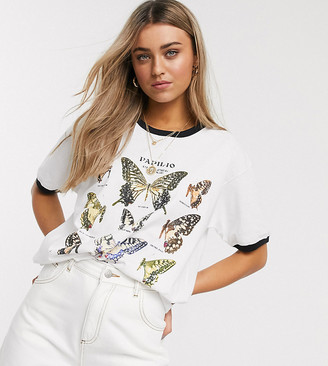 Reclaimed Vintage inspired ringer t-shirt with butterfly print-White