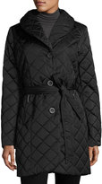 T Tahari Casey Quilted Single-Breasted Coat, Black