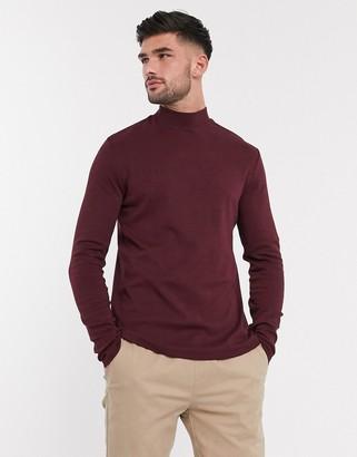 New Look long sleeve turtleneck t-shirt in dark burgundy