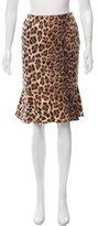 Moschino Leopard Print Flounce Skirt
