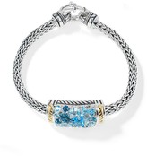 Effy Jewelry Effy 925 Sterling Silver & 18K Gold Blue Topaz Splash Bracelet, 4.90 TCW