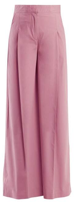 MSGM High Rise Wide Leg Cotton Blend Trousers - Womens - Pink