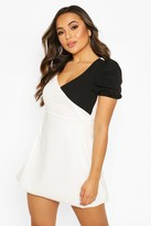 boohoo Petite Colour Block Volume Sleeve Mini Dress