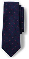 Classic Men's Long Silk Churchill Dot Necktie-Harvest Pine/White Dot