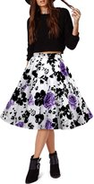Black Butterfly Clothing Black Butterfly Vintage Full Circle 1950's Floral Skirt (Black - Large Red Roses, US 6)