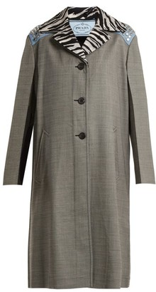 Prada Contrast-collar Wool-blend Coat - Womens - Grey Multi