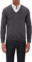 Barneys New York Men's V-Neck Sweater-GREY