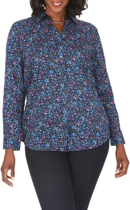 Foxcroft Faith Twilight Floral Wrinkle Free Shirt