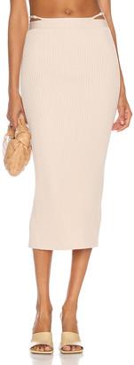 Jonathan Simkhai Sade Midi Skirt in Egret   FWRD