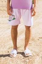 Boohoo Lilac Velour Shorts With Rose Embroidery