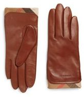 Burberry Housecheck-Trim Leather Gloves