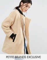 One Day Petite Allover Faux Shearling Longline Bomber