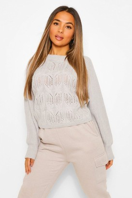 boohoo Petite Pointelle Boxy Knitted Sweater