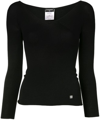 Chanel Pre Owned 2002 V-neck top