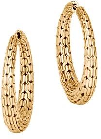 John Hardy 18K Yellow Gold Classic Chain Graduated Medium Hoop Earrings