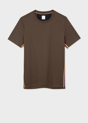 Paul Smith Men's Brown Organic-Cotton T-Shirt With 'Artist Stripe' Trim