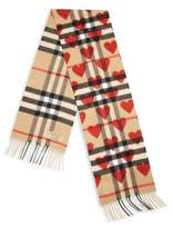 Burberry Kid's Cashmere Heart Check Scarf