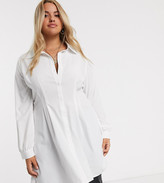 In The Style Plus corset detail oversized shirt in white
