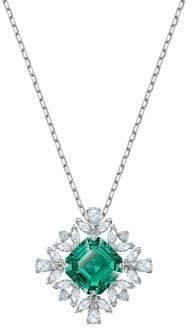Swarovski Palace Rhodium-Plated & White & Green Crystal Pendant Necklace