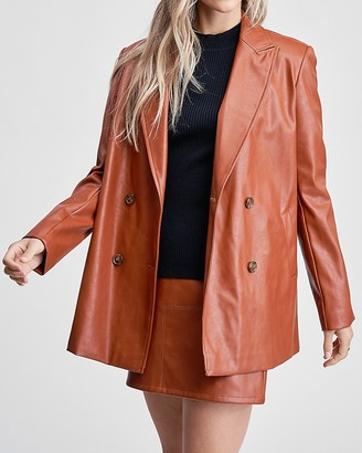 Express En Saison Vegan Leather Button Front Blazer