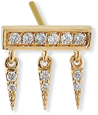 Sydney Evan 14k Diamond Pave Bar Fringe Stud Earring, Single