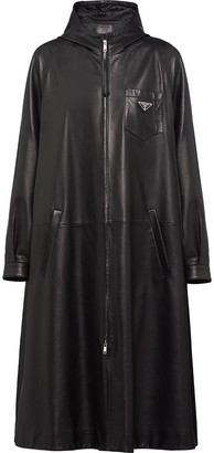 Prada Leather Oversized Trench Coat