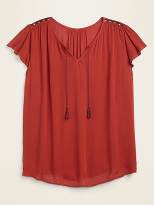 Old Navy Tie-Neck Crinkle-Crepe Plus-Size Swing Blouse