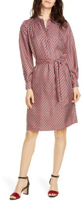 Joie Razi Geo Print Long Sleeve Silk Shirtdress