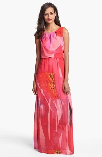 Vince Camuto Blouson Print Chiffon Maxi Dress