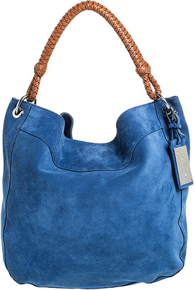 Ralph Lauren Blue/Tan Nubuck and Leather Woven Handle Hobo