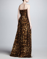 Michael Kors Leopard-Print Sweetheart Gown