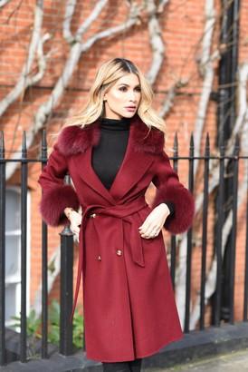 Popski London Bordeaux Cashmere Fox Trim Coat