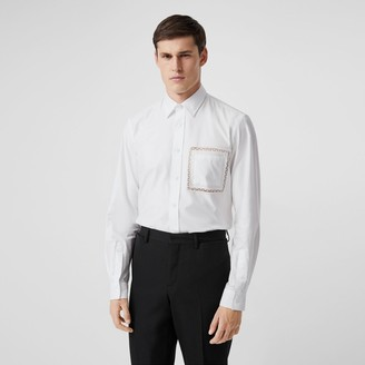 Burberry Classic Fit Lace Detail Cotton Poplin Oxford Shirt