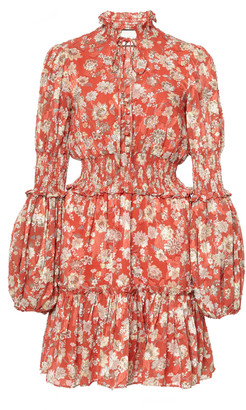 Alexis Rosewell Smocked Floral-Print Jacquard Mini Dress