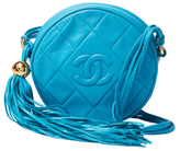 Chanel Vintage Blue Quilted Lambskin Round Mini