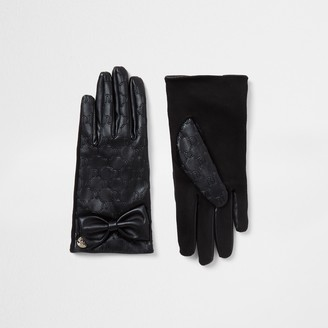 River Island Girls Black RI bow faux leather gloves