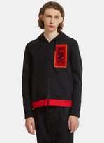 Fendi Furry Love Patched Hooded Sweater In Black