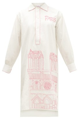 Kilometre Paris - Paris Piping Embroidered-cotton Pyjama Shirt - Womens - White Multi