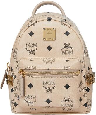 MCM Mini Stark Studded Convertible Visetos Coated Canvas Backpack